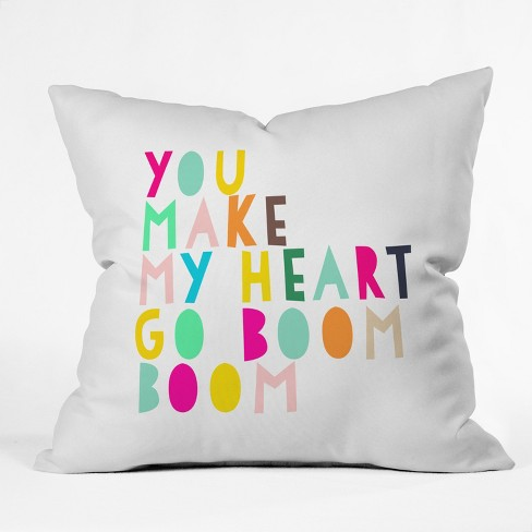 Hello Sayang You Make My Heart Go Boom Boom Throw Pillow Yellow - Deny Designs - image 1 of 2