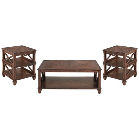3pc Bridgton Wood Living Room Set With, Living Room Table Sets
