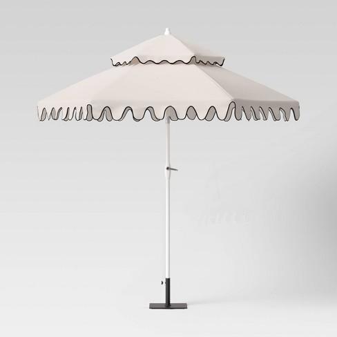 9' Round Tiered Patio Umbrella DuraSeason Fabric™ White with Black Edging - Opalhouse™ - image 1 of 4