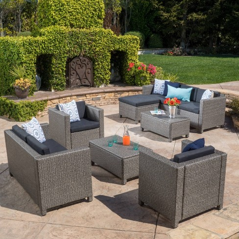 Puerta 9pc Wicker Seating Set - Christopher Knight Home - image 1 of 4
