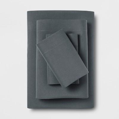 Microfiber Solid Sheet Set (Queen)Charcoal Gray - Room Essentials™
