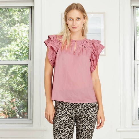 Women's Short Sleeve Eyelet Top - A New Day™ - image 1 of 4