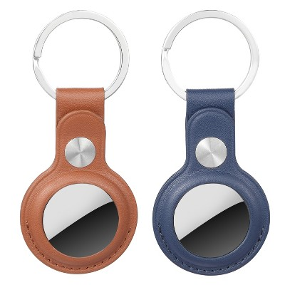 Wasserstein Apple AirTag Holder PU Leather Keychain - Keyring and Protective Case Cover for GPS Tracker (2 Pack, Blue/Brown)