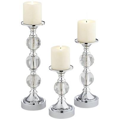 Dahlia Studios Caroline Chrome and Crystal Pillar Candle Holders Set of 3