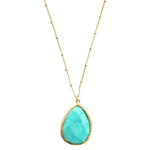 Faceted Pear Pendant Necklace - Turquoise & Gold - image 1 of 1