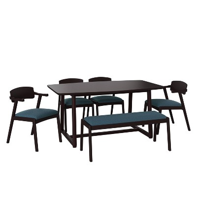 6pc Millie Rectangular Brown Finish Wood Dining Table with Armless Bench and Armchairs - Handy Living