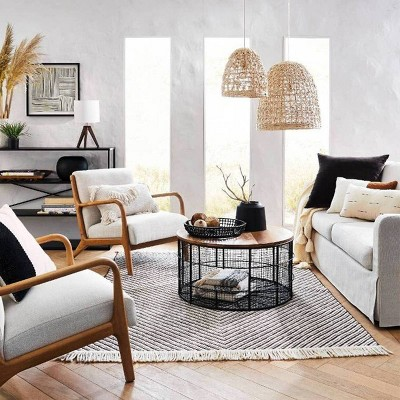 Black & Natural Living Room Furniture & Décor Collection ...