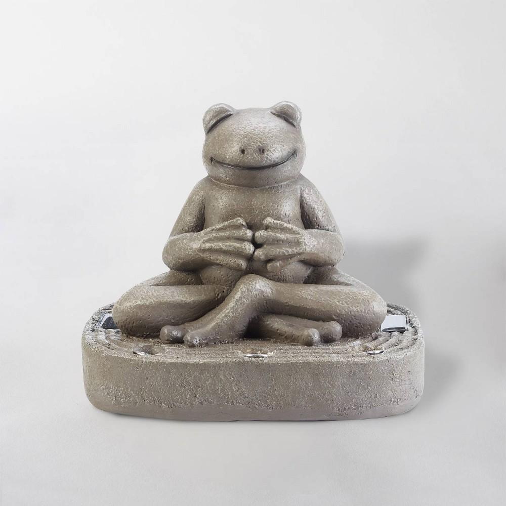 """Image of """"15"""""""" LED Solar Zen Frog Statue Gray - Smart Solar"""""""