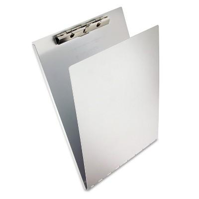 "Saunders Aluminum Clipboard w/Writing Plate 3/8"" Clip Cap 8 1/2 x 12 Sheets Silver 12017"