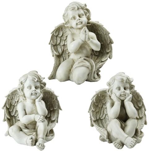 Northlight Set Of 3 Sitting Cherub, Angel Outdoor Statues
