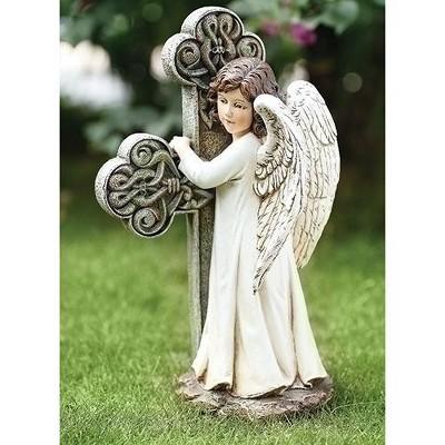 """Roman 11.75"""" Angel Facing Cross Religious Outdoor Garden Statue - White/Gray"""