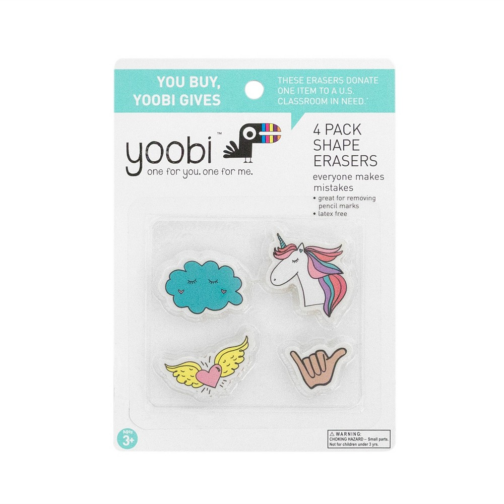 4ct Erasers - Yoobi, Multi-Colored
