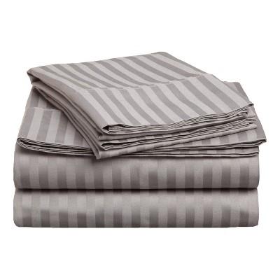 Premium 400-Thread Count Cotton Stripe Deep Pocket Sheet Set - Blue Nile Mills