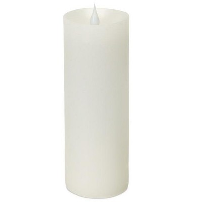 "Melrose 7"" Prelit LED Simplux Wax Flameless Pillar Candle with Moving Flame - White"