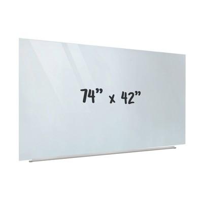 ECR4Kids Frameless Glass Whiteboard - 16:9 Wall Mounted Magnetic Dry Erase Projector Screen w/ Pen Tray