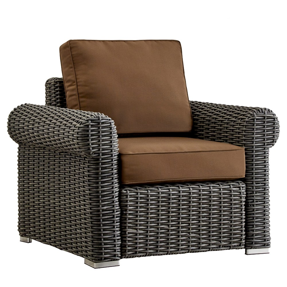 Riviera Pointe Wicker Patio Round Arm Club Chair with Cushions - Charcoal/Brown - Inspire Q