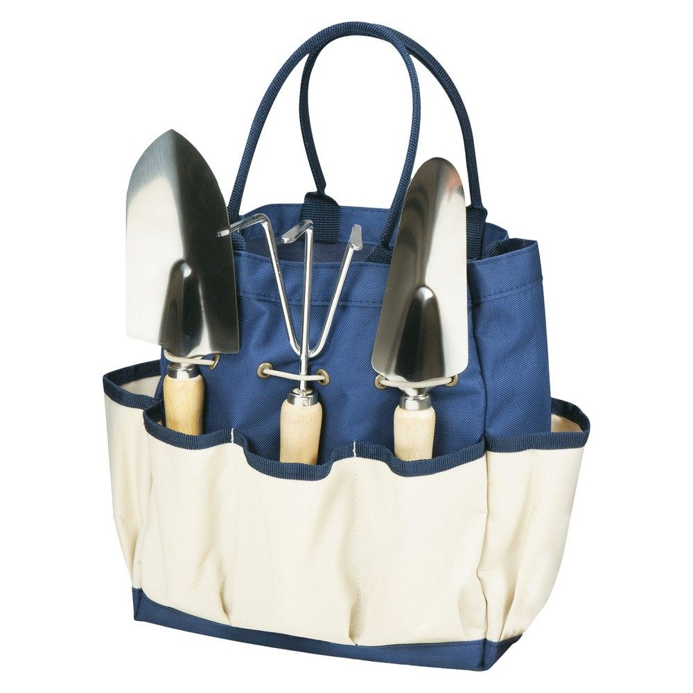 Image of 3 Pc Garden Tote Large - Navy/Cream With Tools - Picnic Time, Blue