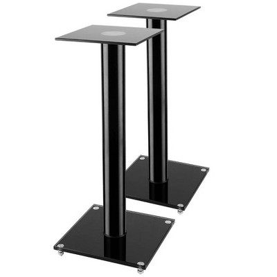 Monoprice Glass Speaker Stand - 23 Inch - Black (Pair) With Cable Management, Supports up to 22 Pounds (10kg), Sturdy and Durable