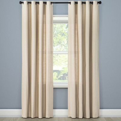 Natural Solid Curtain Panel Brown Linen (54 x95 )- Threshold™
