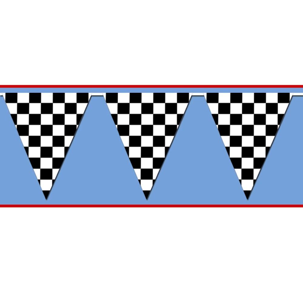 Black White Checkered Pennant Banner