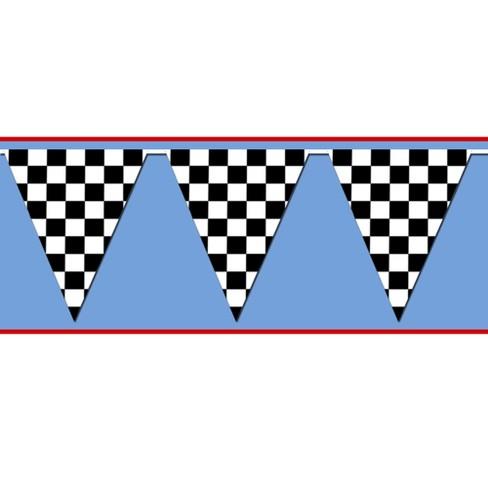 Black/White Checkered Pennant Banner - image 1 of 1