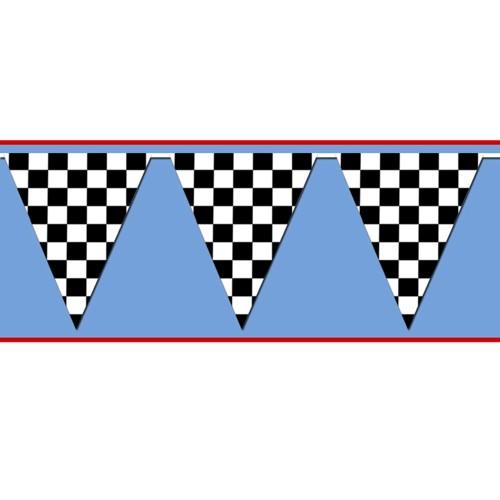 Black/White Checkered Pennant Banner