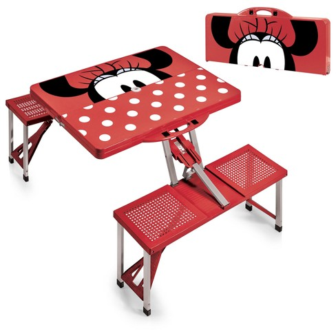 Picnic Time Disney Minnie Mouse Portable Folding Picnic Table Red