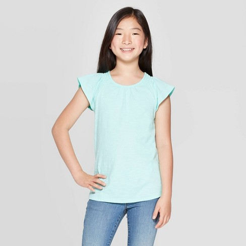 Girls' Short Sleeve Top - Cat & Jack™ Mint - image 1 of 3