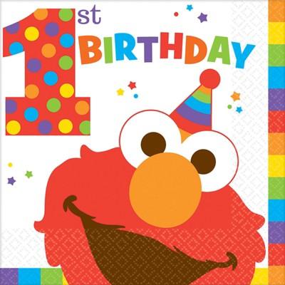 Birthday Express Sesame Street Elmo Turns One Luncheon Napkins - 16 Pack