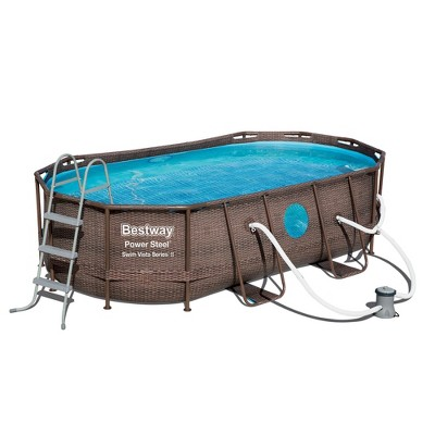 """Bestway 56715E Power Steel Swim Vista 14' x 8'2"""" x 39.5""""  Outdoor Oval Above Ground Swimming Pool Set with 530 GPH Filter Pump, Cover, & Ladder"""