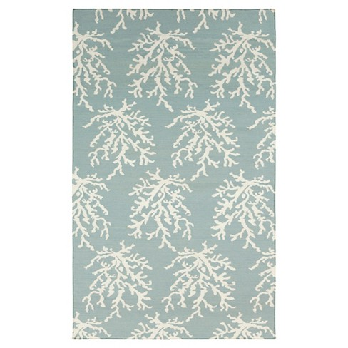 Aqua Botanical Woven Area Rug - (9'X13') - Surya - image 1 of 5
