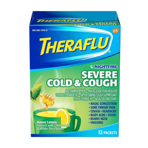 Theraflu Nighttime Severe Cold & Cough Honey Lemon with Chamomile & White Tea Powder - 12ct - image 1 of 4