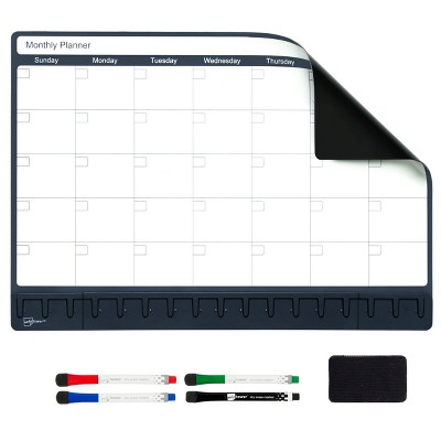 """12""""x17"""" Dry Erase Magnetic Monthly Calendar with 4ct Markers and Eraser - Note Tower"""