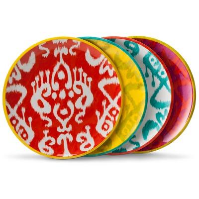 Ikat Print Melamine Assorted Salad Plates Multicolored - 9 x9  Set of 4
