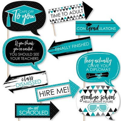 Big Dot of Happiness Funny Teal Grad - Best is Yet to Come - Turquoise Graduation Party Photo Booth Props Kit - 10 Piece
