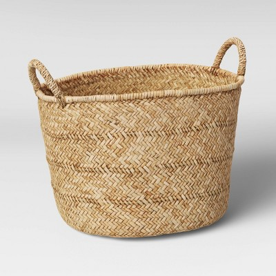 "11"" x 17"" Braided Straw Basket Natural - Threshold™"
