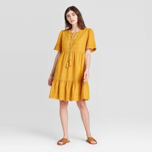 Women's Short Sleeve Dress - Knox Rose™ Yellow - image 1 of 2