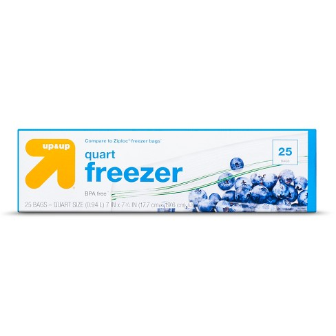 Double Zipper Quart Freezer Bags - 25ct - Up&Up™ (Compare to Ziploc® freezer bags) - image 1 of 1