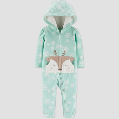Baby Girls' Deer Snowflake Hooded Romper - Just One You® made by carter's Green 3M