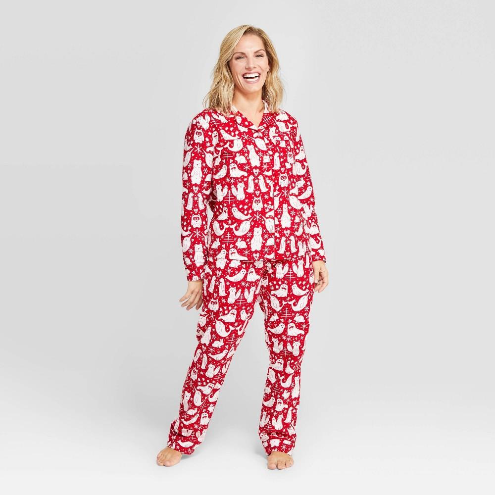 Image of Women's Holiday Nordic Animal Print Pajama Set - Red XS, Women's