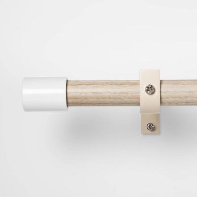 White Finial Curtain Rod Natural Wood - Pillowfort™