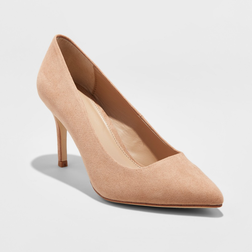 Women's Gemma Wide Width Pointed Toe Nude Pumps - A New Day Pecan 9W, Size: 9 Wide