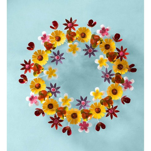 Spring Flowers Handmade All Weather Metal 3d Wreath Plow Hearth