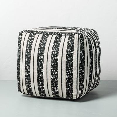 Bold Stripe Outdoor Ottoman Pouf Black/White - Hearth & Hand™ with Magnolia