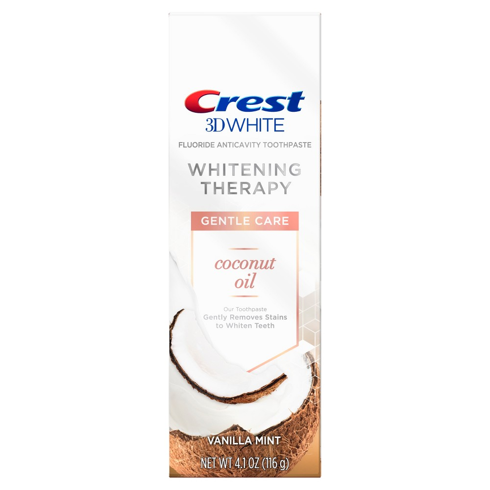 Image of Crest 3D Vanilla Mint White Whitening Therapy Coconut Oil Toothpaste - 4.1oz