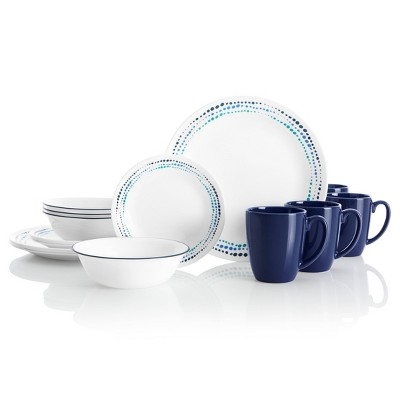 Corelle Livingware 16pc Glass Ocean Blues Dinnerware Set