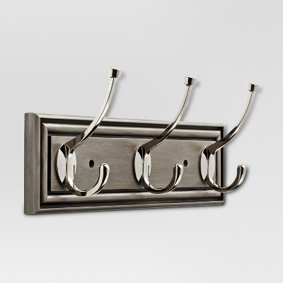 16  Hook Rack - Painted Grey & Polished Nickel - Threshold™