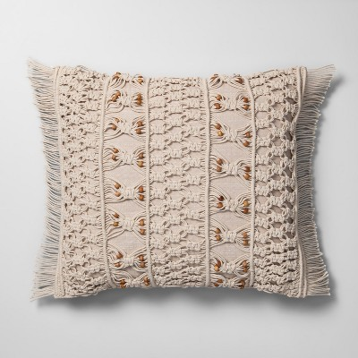 Macrame With Wood Beads Throw Pillow Neutral - Opalhouse™