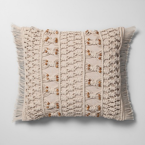 Macrame With Wood Beads Throw Pillow Neutral - Opalhouse™ - image 1 of 4