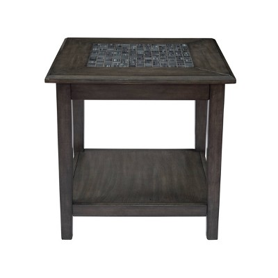 End Table with Stone Marble Top Gray - Benzara